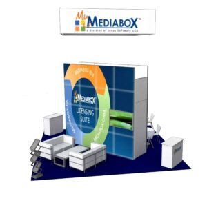 MediaBox 20x20 Trade Show Booth Exhibit Ideas