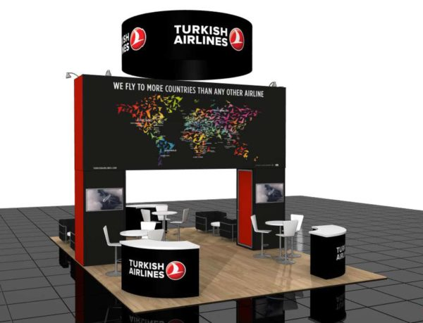 Turkish Airlines 20x30 Trade Show Booth Exhibit Ideas